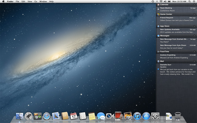 Notification Center on Mac OS X Mountain Lion is hidden under the Desktop.