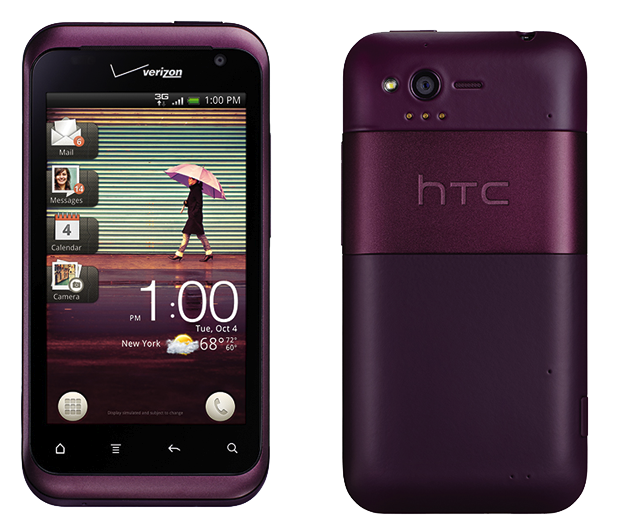 The HTC Rhyme: it's not pink, but it's close enough.