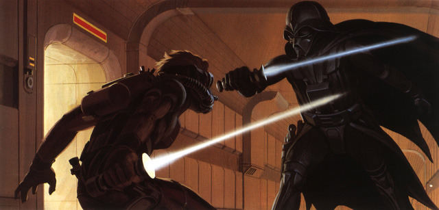 Vader facing off against an unknown rebel assailant.