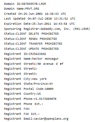 Sabu's full name and address in the public WHOIS database. Whoops.