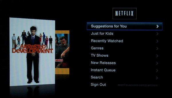 The new, more Apple-like Netflix interface.