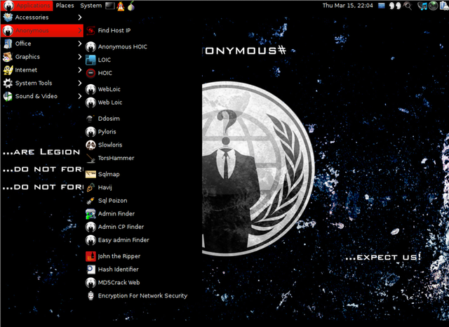 The hacking tools in the Anonymous-OS image include what appears tp be a hit parade of options, including the widely-discredited LOIC, the HOIC tool, slow attack tools such as Slowloris and Pyloris, and a collection of SQL Injection tools. There are also a number of picks here that are web links.