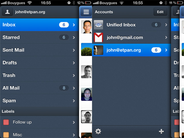 You can see how Sparrow uses stacked panels, similar to Facebook for iPhone or Twitter for iPad.
