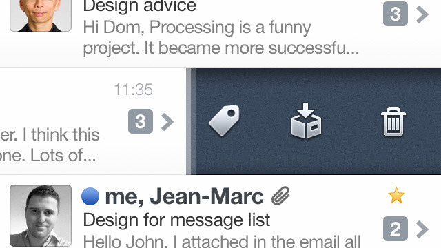 Swiping to the left on any e-mail reveals a contextual menu similar to previous versions of Twitter for iPhone.