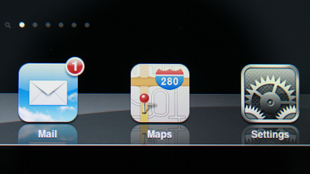 A close up of icons on iPad 2's home screen. Colorful, detailed, but pixelated.