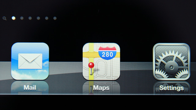 A close up of icons on iPad 3's home screen. Notice how the 'retina' display makes the icons almost photo-realistic. Text labels are also almost as sharp as a printed page.