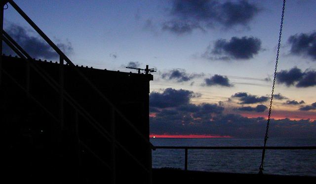 Sunset falls on Sealand
