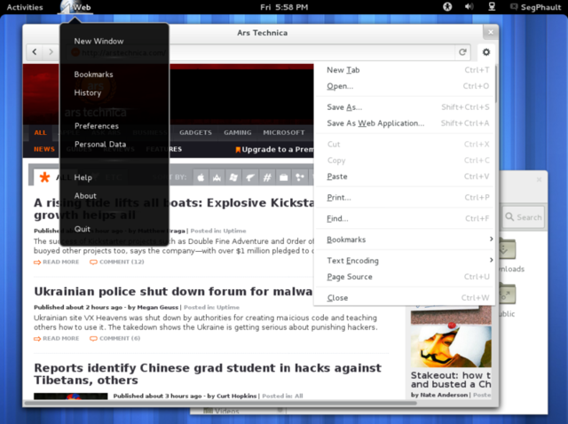 Two menus in the GNOME 3.4 Web browser. This image is a composite shot because you can't normally have both menus open at the same time.