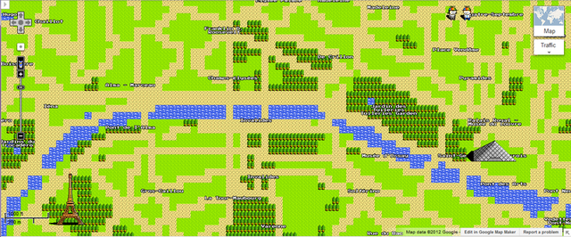 Paris, France in Google maps for NES