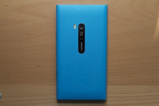 The back of the Lumia 900 with its Carl Zeiss 8-megapixel camera. Scratches accumulate pretty easily on that chrome plate.