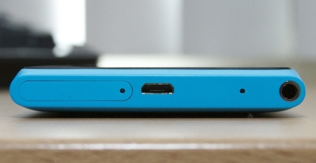 The top of the Lumia 900, from left: SIM slot, microUSB port, headphone jack