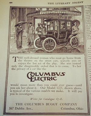 The Columbus Electric vehicle was marketed as a guarantor of privacy and safety for women.