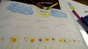 Actual clouds drawn with actual crayons