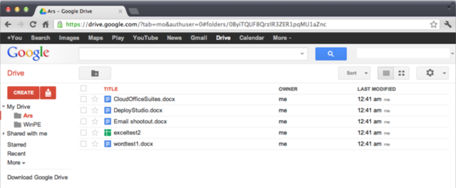 The Google Drive web client