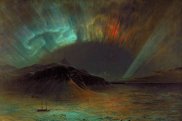 Frederic Edwin Church's 1859 painting Aurora Borealis. Some speculate that Church took his inspiration from the Great Auroral Storm of 1859.