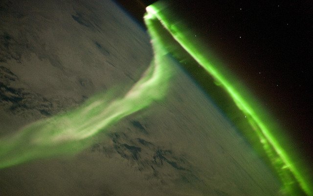 A modern aurora, captured in 2010 by an astronaut on the International Space Station