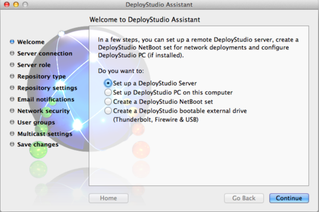 The DeployStudio Assistant will walk you through configuring your server and your boot media.