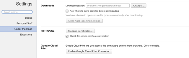 Setting up Cloud Print requires you to go under the hood.