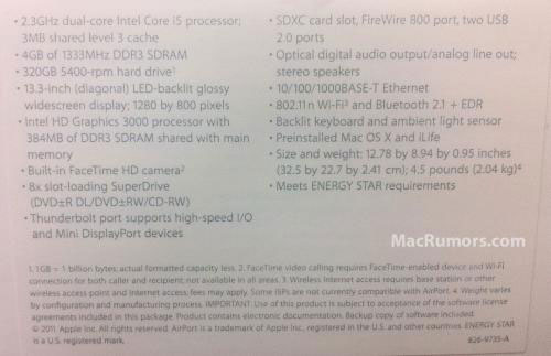 "13"" MacBook Pro specs leaked, reveal ""Thunderbolt"" I/O port"