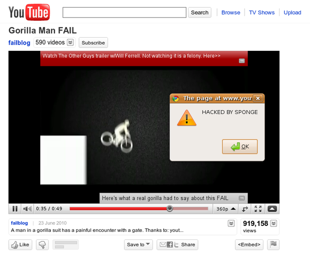 Porn pranksters have a field day with YouTube injection flaw