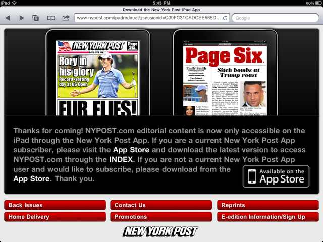 <em>NY Post</em> blocks access to its website on iPads to drive app purchases